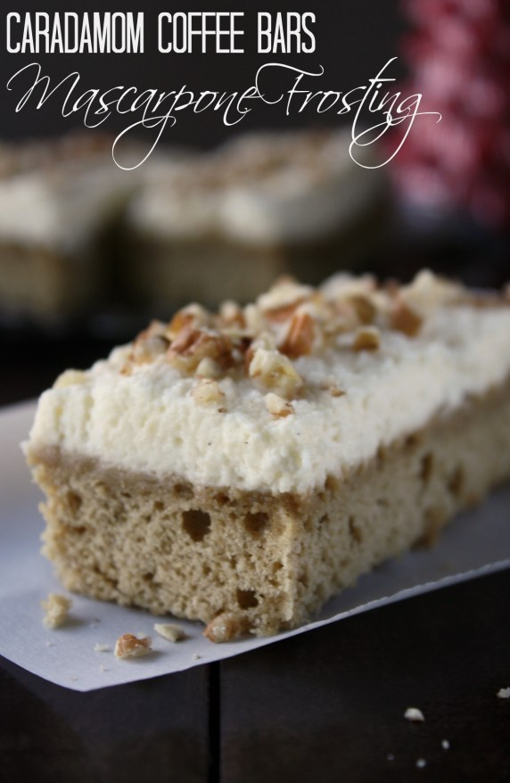 Cardamom Coffee Bars with Vanilla Bean Mascarpone Frosting