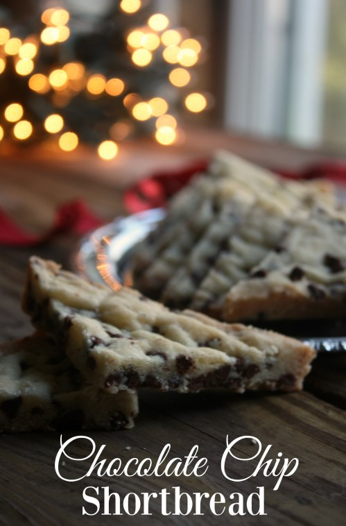 Chocolate Chip Shortbread cookies made with mini chocolate chips are a wonderful addition to your holiday baking. Soft and buttery these chocolate chip shortbread cookies are always a hit.