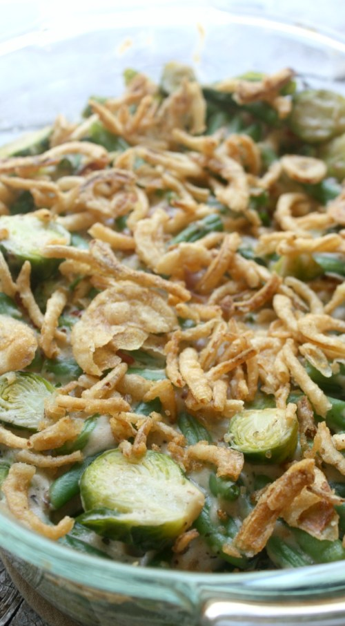 Green Bean and Brussels Sprouts Casserole
