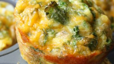 Baked Kale and Cheddar Breakfast Cups recipe. A cheesy baked breakfast cup loaded with kale that is perfect when you are on the go!