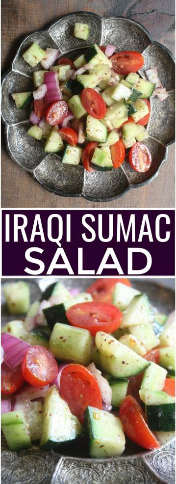 Iraqi Sumac Salad. Fresh mix of cucumbers, cherry tomatoes and red onions tossed in a sumac dressing.