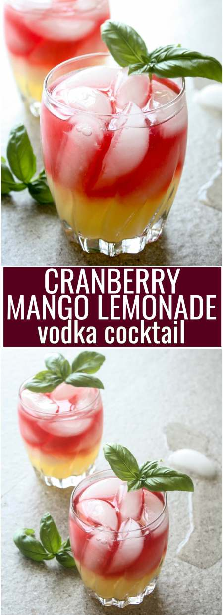Cranberry Mango Lemonade Vodka Cocktail