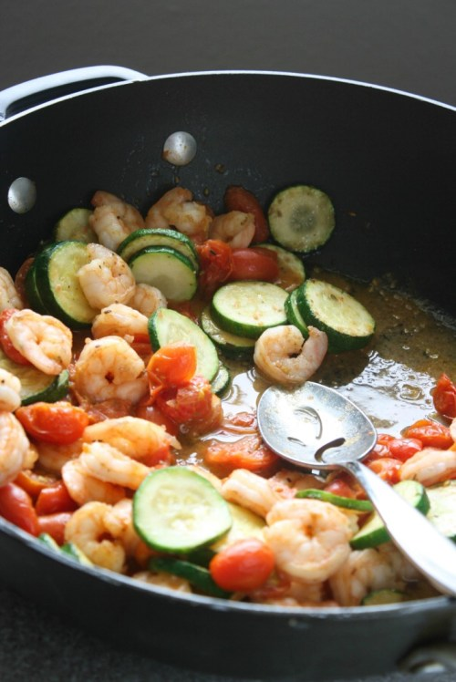 Sauted Shrimp with Zucchini and Cherry Tomatoes