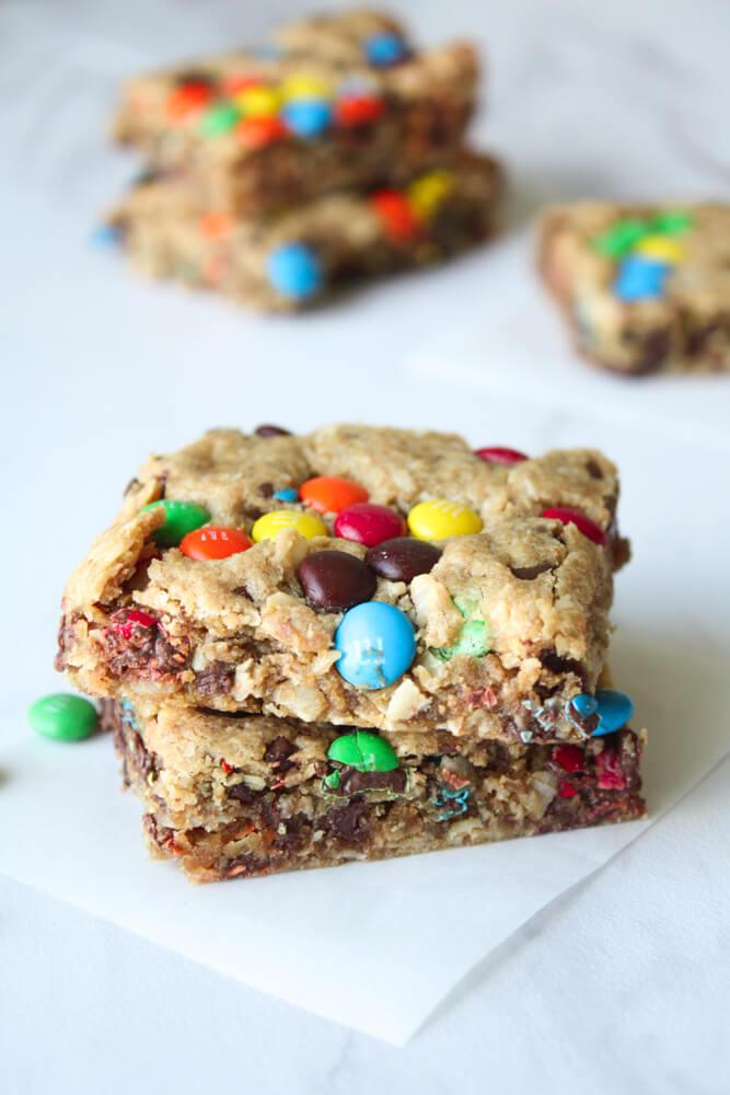 No Flour Monster Cookie Bars Recipe