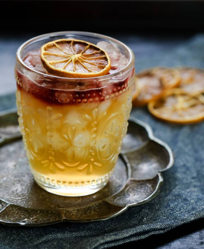 New York Sour Variation with Spiced Pear