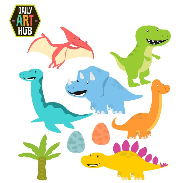 cute dinosaurs clip art set daily