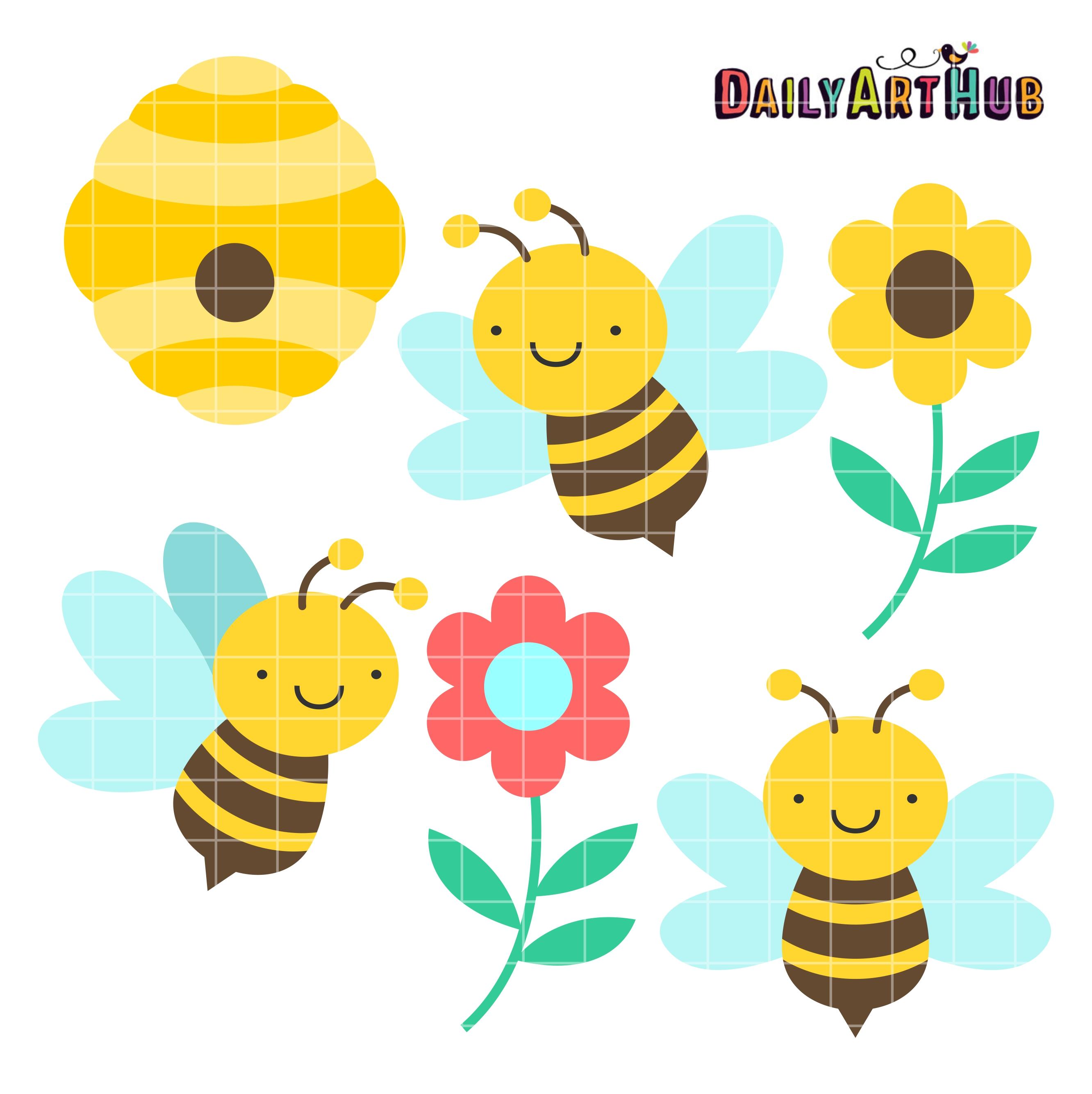 Cute Honey Bees Clip Art Set