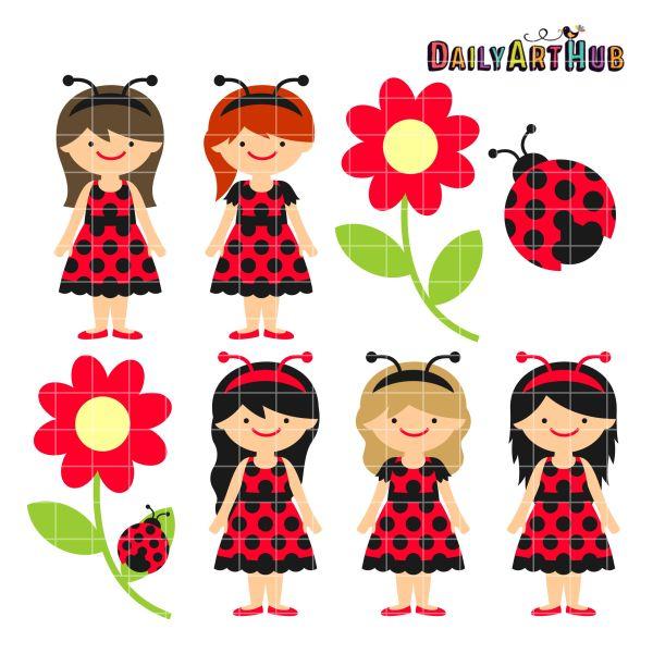 ladybug girls clip art set daily