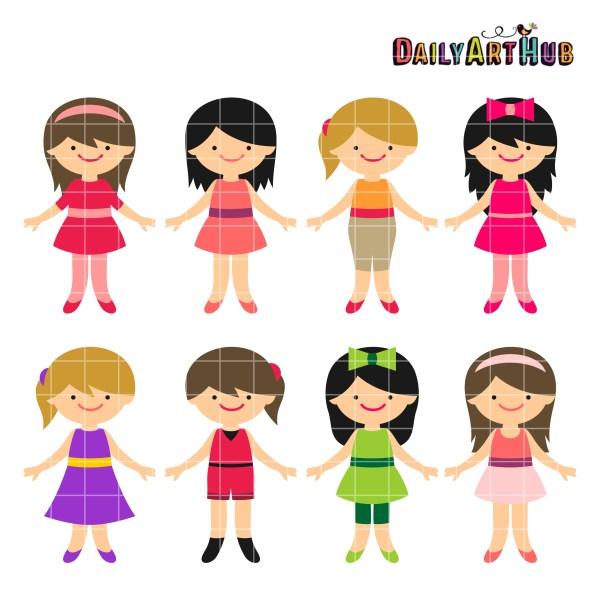little girls clip art set daily