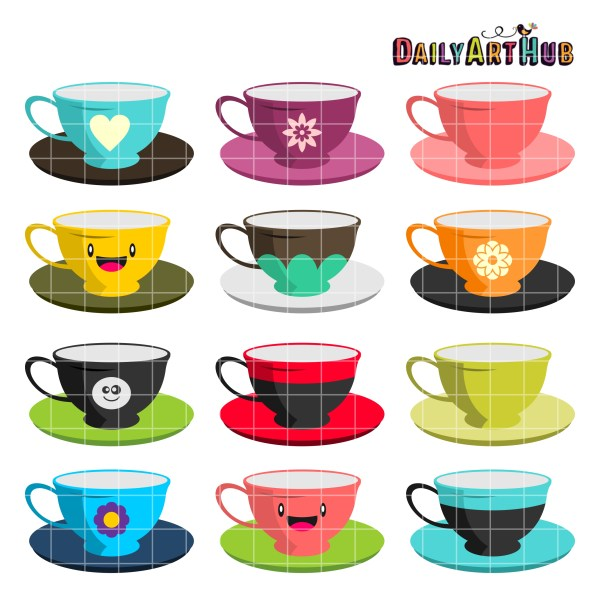 tea cups clip art set daily