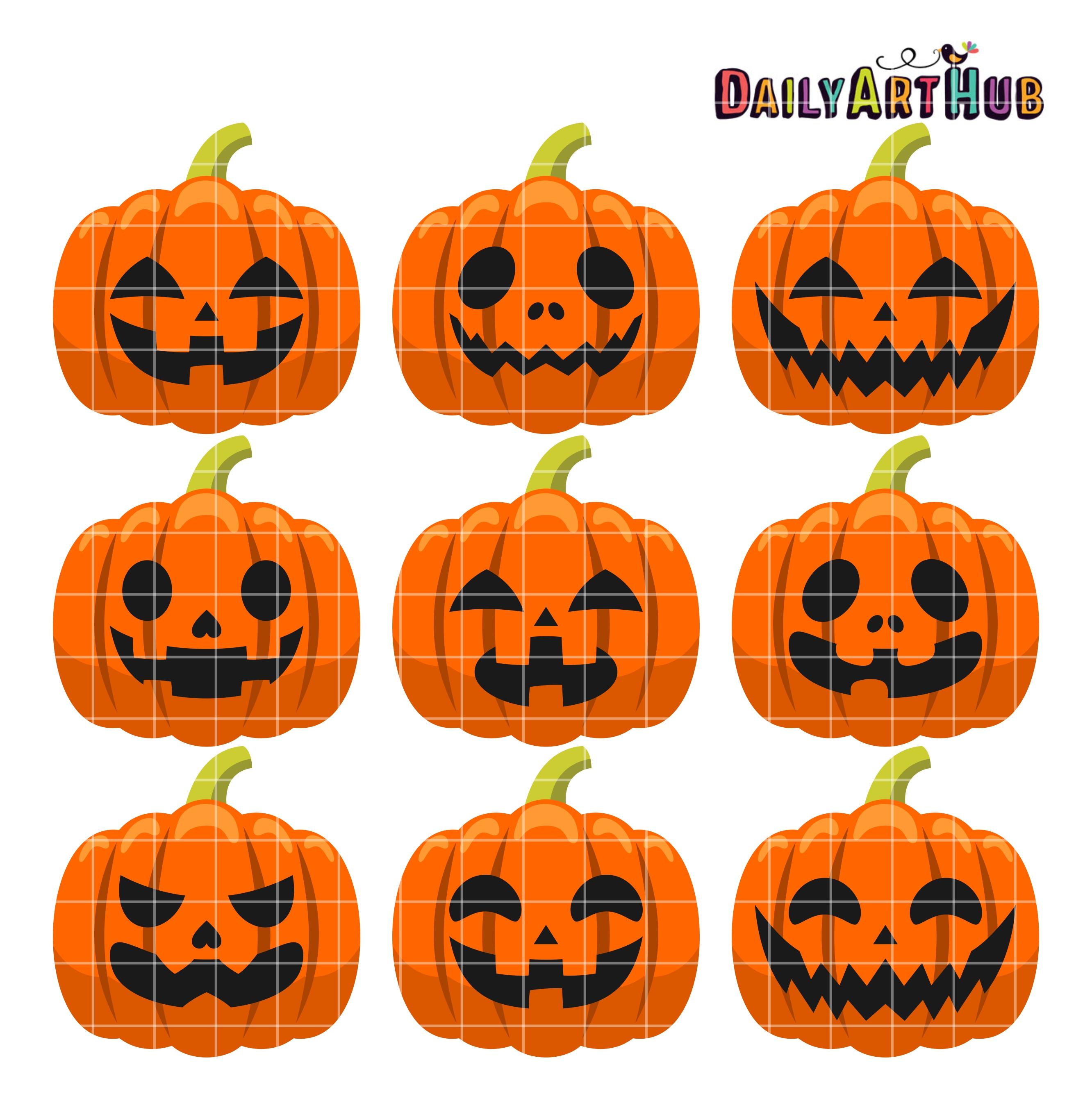 Halloween Pumpkin Heads Clip Art Set