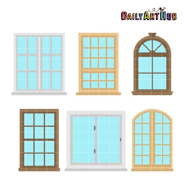 house windows clip art set daily