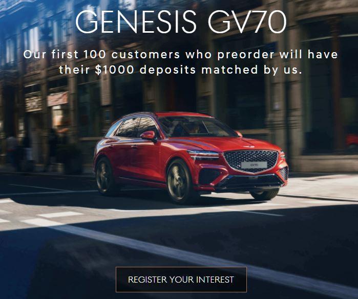 Genesis GV70 Pre-order offer