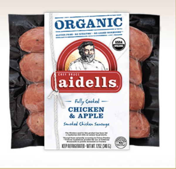 Aidells Organic Chicken & Apple Sausage; Fully Cooked; Gluten Free; Made with All WHOLE30-Approved Ingredients