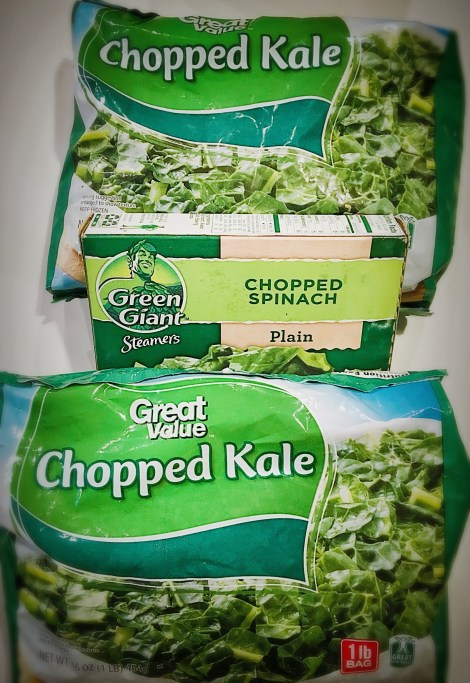 Super greens short cuts - frozen chopped kale and spinach