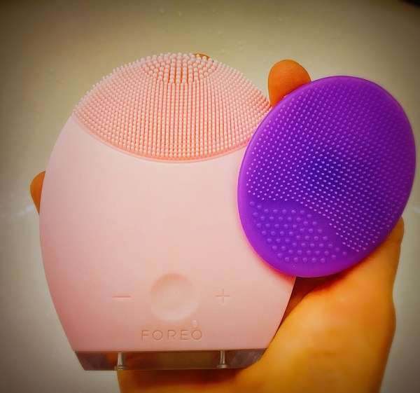 Left: Foreo LUNA (Sensitive/Normal Skins) Right: Lil Scrubbies Silicone Facial Scrub Brush