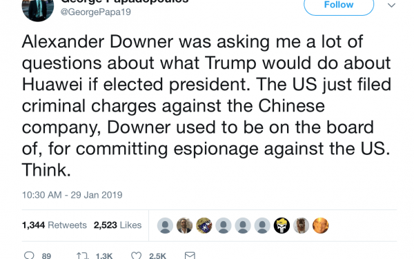 Alexander Downer should be sweating over FBI Huawei probe (updated)