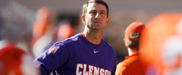 Head coach Dabo Swinney of the Clemson Tigers looks on prior to their game against the South Carolina Gamecocks at Memorial Stadium on Nov. 29, 2014 in Clemson, South Carolina. (Photo by Tyler Smith/Getty Images)