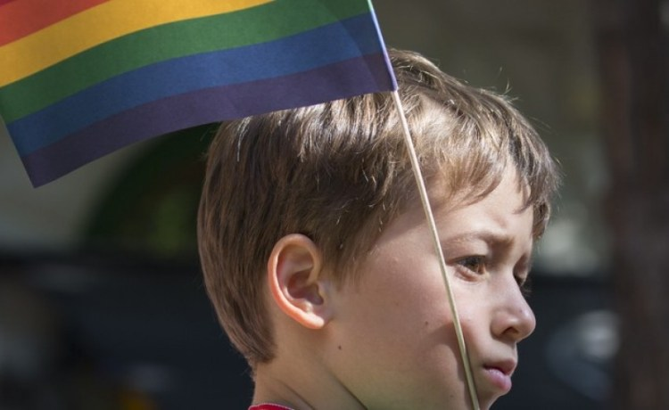 BUDAPEST, HUNGARY - JULY 11.Unidentified boy took part in the 20. Budapest Gay Pride parade to support the LGBT (lesbian, gay, bisexual, and transgender) rights on July 11 2015 in Budapest, Hungary. (Credit: posztos / Shutterstock.com)