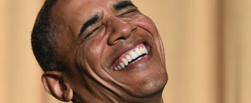 Barack Obama laughing [Jewel Samad/AFP/Getty Images]