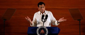 Philippine President Rodrigo Duterte speaks during his first State of the Nation Address at the Philippine Congress in Quezon city, Metro Manila