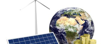 3D illustration/ 3D rendering - solar and wind energy concept. Elements of this image furnished by NASA. (Shutterstock/3D_creation)