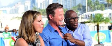 RIO DE JANEIRO, BRAZIL - AUGUST 16: (BROADCAST - OUT) Natalie Morales, Billy Bush and Al Roker joke on the Today show set on Copacabana Beach on August 16, 2016 in Rio de Janeiro, Brazil. (Photo by Harry How/Getty Images)