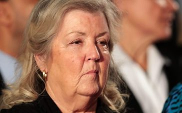 Juanita Broaddrick sits before the town hall debate at Washington University on October 9, 2016 in St Louis, Missouri. This is the second of three presidential debates scheduled prior to the November 8th election