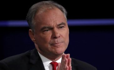 Democratic vice presidential nominee Senator Tim Kaine discusses an issue with Republican vice presidential nominee Governor Mike Pence (off camera) during their vice presidential debate at Longwood University in Farmville, Virginia, October 4, 2016. REUTERS/Kevin Lamarque