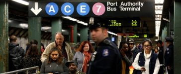 Subway train as it arrived at Times Square station in New York City, U.S., November 7, 2016. REUTERS/Brendan McDermid