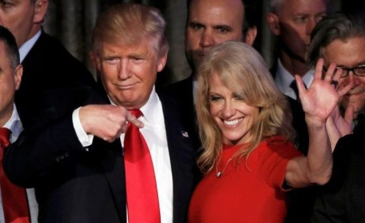 President-elect Donald Trump and his campaign manager Kellyanne Conway greet supporters during his election night rally in Manhattan, New York, November 9, 2016. REUTERS/Mike Segar