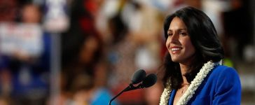 PHILADELPHIA, PA - JULY 26: US representative Tulsi Gabbard (D-HI) delivers remarks on the second day of the Democratic National Convention at the Wells Fargo Center, July 26, 2016 in Philadelphia, Pennsylvania. An estimated 50,000 people are expected in Philadelphia, including hundreds of protesters and members of the media. The four-day Democratic National Convention kicked off July 25. (Photo by Aaron P. Bernstein/Getty Images)