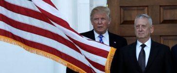 "Trump stands with Secretary of Defense ""General James 'Mad Dog' Mattis. REUTERS/Mike Segar"