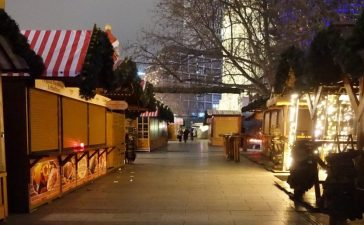 The otherwise vibrant Christmas market in Berlin was deserted Tuesday. (Jacob Bojesson/TheDCNF)