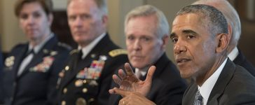 President Barack Obama meets with Military Combatant Commanders and Joint Chiefs of Staff in the Cabinet Room of the White House in Washington, D.C., January 4, 2017. (Photo credit: SAUL LOEB/AFP/Getty Images)