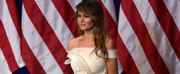First Lady Melania Trump is seen the Salute to Our Armed Services Inaugural Ball at the National Building Museum in Washington, D.C., January 20, 2017. (Photo credit: SAUL LOEB/AFP/Getty Images)