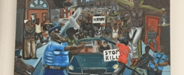"""""""Untitled #1"""" Painting by St. Louis High School student depicting police as pigs (Photo: Daily Caller/Kerry Picket)"""