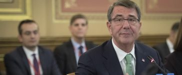 U.S. Secretary of Defense Ash Carter listens during a summit at the Foreign Office in London