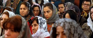 Assyrian Christians from Syria and Iraq, attend a Christmas mass at Saint Georges church in an eastern suburb of the Lebanese capital Beirut, on December 25, 2015. (ANWAR AMRO/AFP/Getty Images)