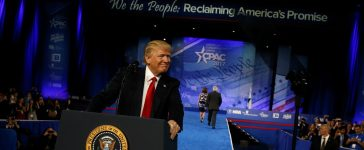 U.S. President Donald Trump takes the stage to address the Conservative Political Action Conference (CPAC) in Oxon Hill, Maryland, U.S. February 24, 2017. REUTERS/Jonathan Ernst