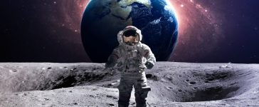 Brave astronaut at the spacewalk on the moon. This image elements furnished by NASA. (Shutterstock/ Vadim Sadovski )