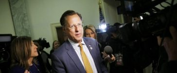 House Freedom Caucus member Brat talks to reporters on Capitol Hill in Washington