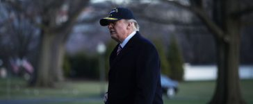 WASHINGTON, DC - MARCH 02: U.S. President Donald Trump walks on the South Lawn after he returned to the White House March 2, 2017 in Washington, DC. President Trump has returned from his trip to visit the USS Gerald R. Ford aircraft carrier in Newport News, Virginia. (Photo by Alex Wong/Getty Images)