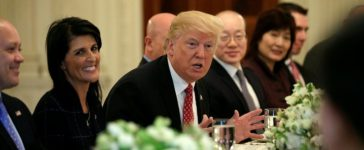 Trump meets with UN Security Council ambassadors at the White House in Washington