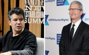 Left: Co-founder/CEO of Uber, Travis Kalanick, speaks onstage during 'The Übermensch' at the Vanity Fair New Establishment Summit. (Photo by Mike Windle/Getty Images for Vanity Fair) Right: Apple CEO Tim Cook attends as Robert F. Kennedy Human Rights hosts The 2015 Ripple Of Hope Awards. (Photo by Astrid Stawiarz/Getty Images for RFK Human Rights)