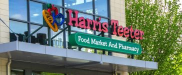 Harris Teeter, a grocery store chain, on a sunny spring day. This photo was taken at Rockville Maryland on April 23 2017. J.D. Maman/shutterstock