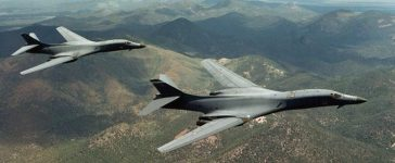A pair of B-1B Lancer bombers soar over Wyoming in an undated file photo. Staff Sgt. Steve Thurow/U.S. Air Force/Handout via REUTERS/File photo