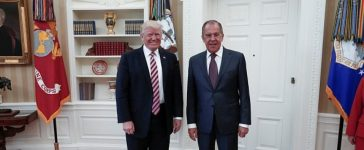 WASHINGTON, USA - MAY 10: US President Donald Trump (R) and Russia's Foreign Minister Sergei Lavrov (L) pose for a photo as they meet at the Oval Office of White House in Washington, D.C., United States on May 10, 2017. (Photo by Russia Foreign Minister Press Ofice /Anadolu Agency/Getty Images)