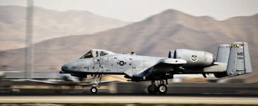 An A-10 Thunderbolt II takes off at Bagram Airfield, Afghanistan, Sept. 25, 2012. The A-10's capabilities allow it to conduct operations in locations in and out of front line combat. (U.S. Air Force photo by Capt. Raymond Geoffroy)