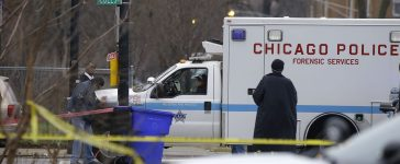 Chicago Police forensic service vehicle arrives at the scene where four people were shot and killed at a restaurant in the 2700 block of East 75th Street on March 30, 2017 in Chicago, Illinois. (PHOTO: Joshua Lott/Getty Images)